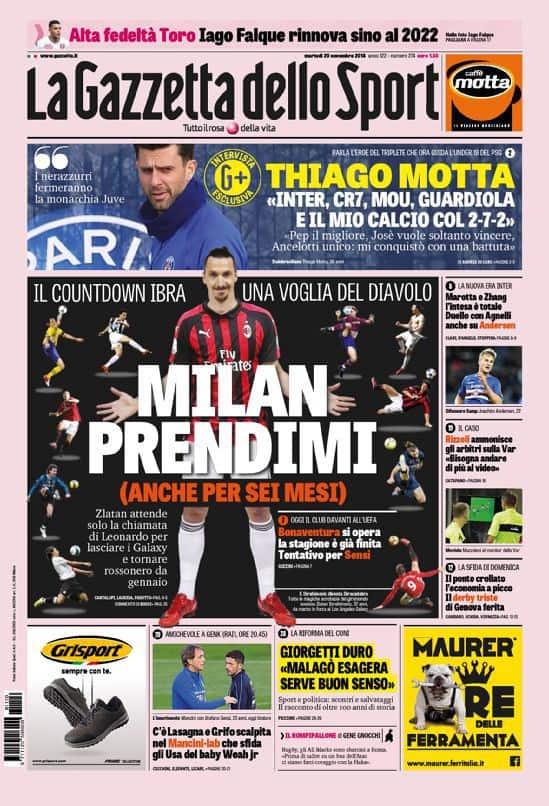 prima pagina gazzetta dello sport martedì 20 novembre 2018