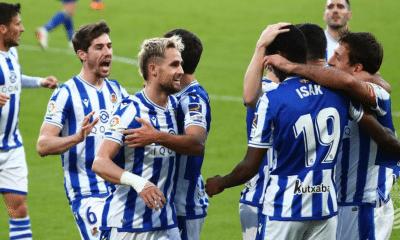 Esultanza giocatori Real Sociedad Liga