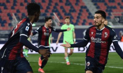 esultanza gol Ibrahima Mbaye Sansone Bologna
