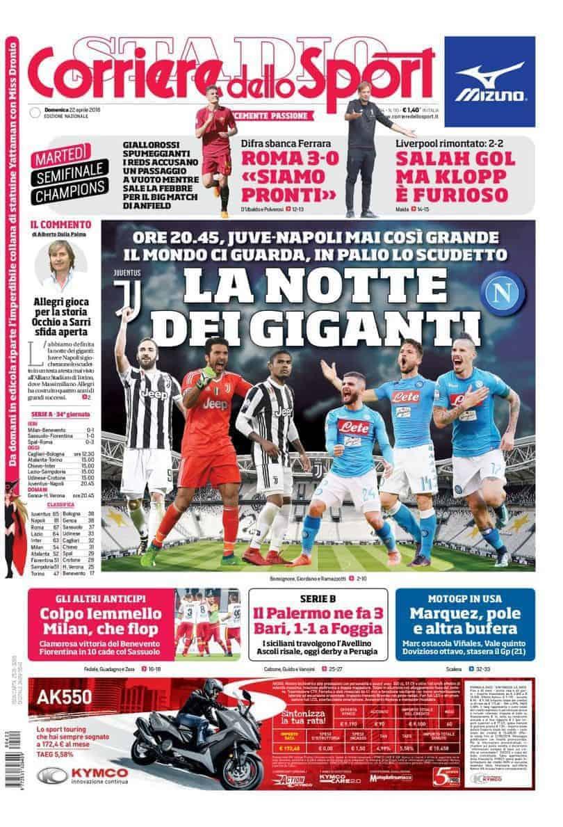 prima pagina corriere dello sport 22 aprile